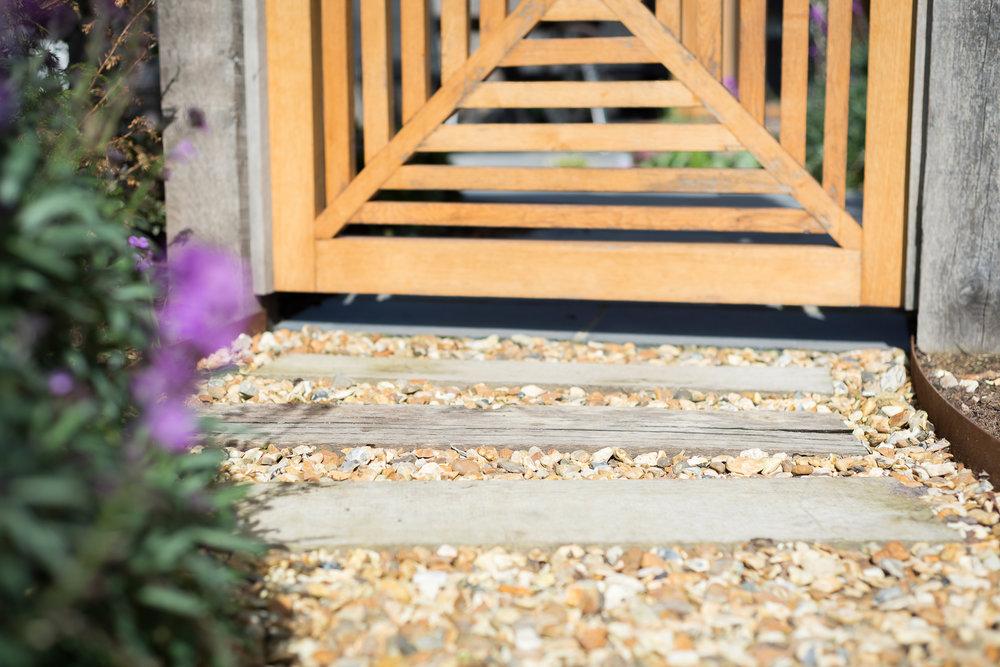 Oak Post and Shingle Path Leading to Custom Made Garden Gate