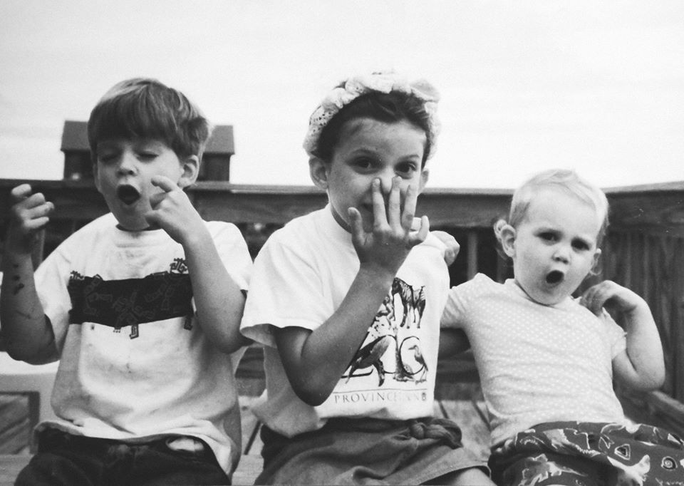 From Left: My brother Matthew, me, and my sister Blythe. Cape Cod, way back when.