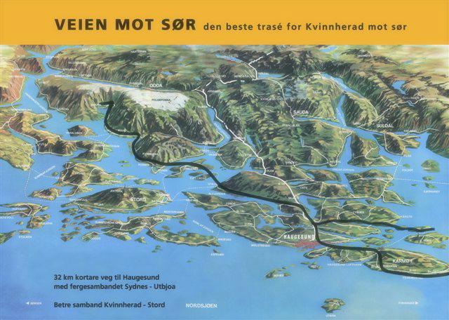 – Den beste traseen for Kvinnherad mot sør er over Sydnes/Utbjoa, meinte interessegruppa på Halsnøy.