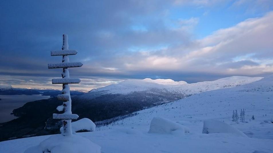 – Ein vakker 1. juledag i fjellet, rapporterer Jan Martin Skaaluren frå Valen. Før vi andre var skikkeleg vakne etter julekvelden, var han på tur til Nordfjell (559 m o.h.). Der oppe var det heilt blikkstille, rundt fem minus-grader og nysnø med ei djupne på 40 – 50 cm. Han såg endåtil spor etter hjort og hare. Kan ein få det betre på ein slik dag?