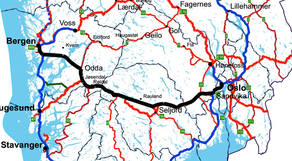Denne illustrasjonen er frå vegvesenet si aust/vest-utgreiing, og viser E134 med armen til Bergen, som til no har vore påtenkt. Den grøne streken mellom Åkrafjorden og Tysnes er ført på av Sunnhordlandsdiagonalen AS, og viser om lag korleis ein slik diagonal kan gå. Både den grøne og den blå (ny E39) kan bli firefelts motorveg med 110 km/t.