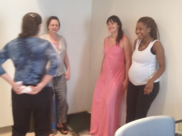 Speaking with a group of expecting Moms at Yale-New Haven Hospital. I teach my signature Birthpartner Massage Class there as well.
