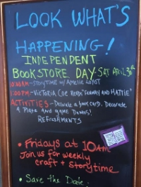Sign outside Buttonwood Books & Toys