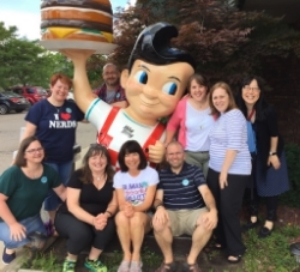 The wicked nerdy group from Boston & New England: Lesley Burnap, Josh Funk, Melissa Guerrette, Melanie Roy, Erika M. Victor, & Jason Lewis, plus Debbie Ridpath Ohi from Toronto and rockstar librarian Margie Myers-Culver from Michigan.
