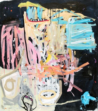 Channeling Chaim Oil, Acrylic and Marker 70 (vertical) x 60 (horizontal) inches 2012