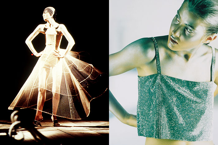 LEFT: Alexander McQueen, Spring/Summer 1999. RIGHT: Swarovski Crystal Mesh, 1999. IMAGES: Swarovski Archive