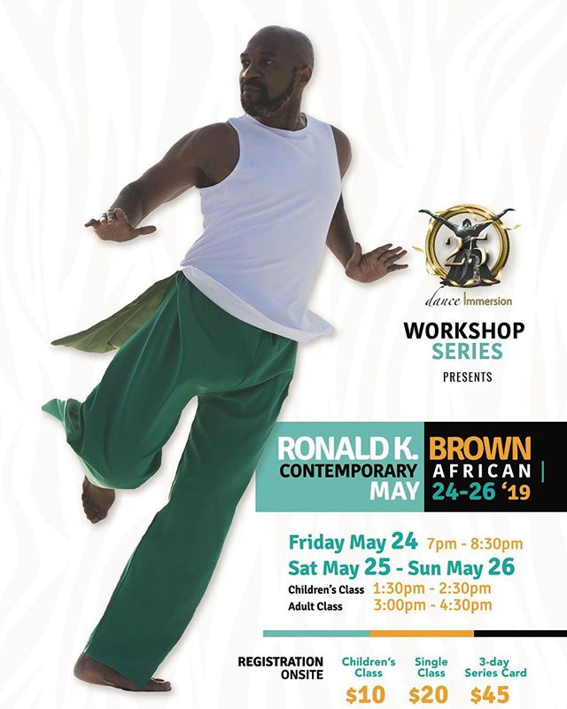 dance Immersion is incredibly excited to be welcoming back Ronald K. Brown in May! He and his extraordinary company Evidence were last here in February 2018 where they performed in our annual Showcase Presentation and put on a breathtaking show!  This year, Ronald is bringing us not one, not two but THREE days of contemporary African dance workshops! So mark May 24th, 25th and 26th down on your calendars!  The best part is there is no need to pre-register because we have a registration desk ON SITE! Just turn up with a smile and love for dance!  Workshops will take place at Canada's National Ballet School: 400 Jarvis St, Toronto, ON M4Y 2G6  Prices: Adult class $20, Children's class $10, Three day series card: $45  Friday May 24, 2019 (Studio 5C) 7:00PM - 8:30PM  Saturday May  25, 2019 (Studio 6D)  CHILDRENS CLASS 1:30PM-2:30PM ADULT CLASS 3:00PM - 4:30PM  Sunday May 26, 2019 ( Studio 6D)  CHILDRENS CLASS 1:30PM - 2:30PM ADULT CLASS 3:00PM - 4:30PM  We can't wait to dance with you!  #danceTO #dancersofinstagram #blackexcellence #artsinTO #ronaldkbrown  #contemporaryafrican #dancewithus #danceimmersion