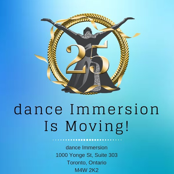 After many cherished years at our Queen and Bathurst location dance Immersion is excited to announce we've found a new home! We'll be sharing a home with the amazing DTRC / CRTD - Dancer Transition Resource Centre!  As of May 6th, 2019 dance Immersion's new address is:  dance Immersion 1000 Yonge Street,suite 303 Toronto, ON M4W 2K2  Our phone number and emails will remain the same  We can't wait to take this next step in our journey and we hope you come visit!  #newbeginnings  #danceimmersion #dI25 #newhome