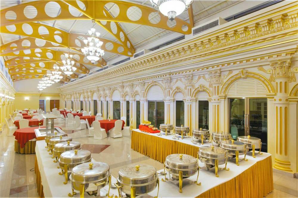 Lunch setting at Mansarovar Hall in Hotel Shanker, Kathmandu, Nepal