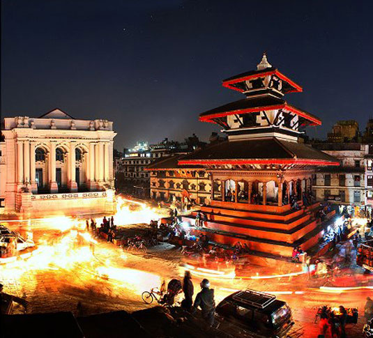 Basantapur Durbar Square at night.