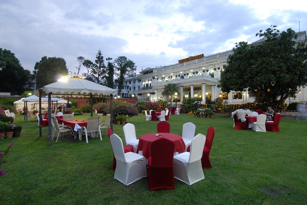 Banquets in  the garden at Hotel Shanker, Kathmandu, Nepal