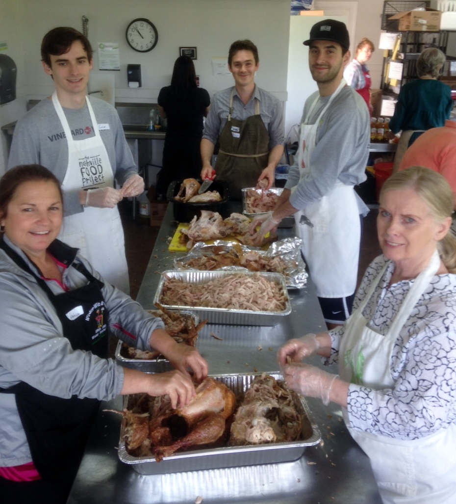 Here's the best turkey pickin' group in Nashville! Almost 100 pounds of turkeys & chickens were turned into pot pies made with a a rich, homemade broth and lots of fresh vegetables. Our office smelled like grandma's house for days!