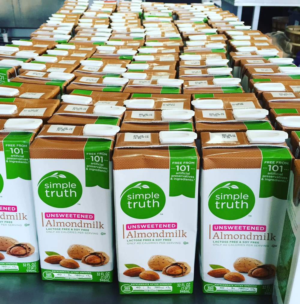 Almond milk that could have headed for the dumpster after a food conference at Music City Center. But thankfully, a volunteer brought it to TNFP instead for including in bread puddings and other uses.