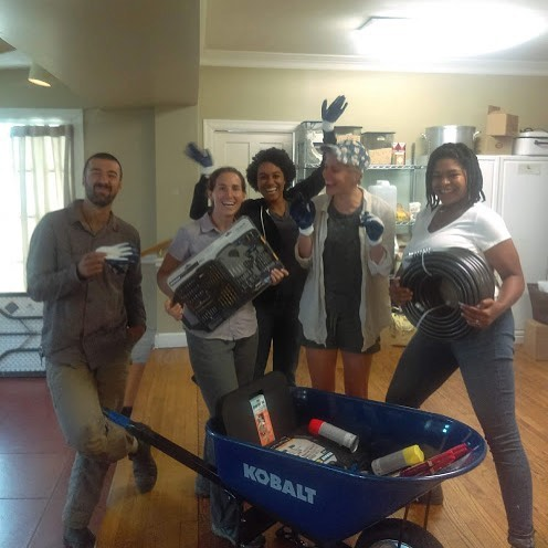 New garden tools = lots of smiles! A group of Lowes employees volunteered at our Haywood Lane garden and then offered to donate tools from their store. Thanks so much Karin, Danny, and Mauricio for helping us grow and share more fresh, nourishing food with our community! 🍅🌽🍠🥕🍓 . . . @loweshomeimprovement #donation #volunteer #tools #garden