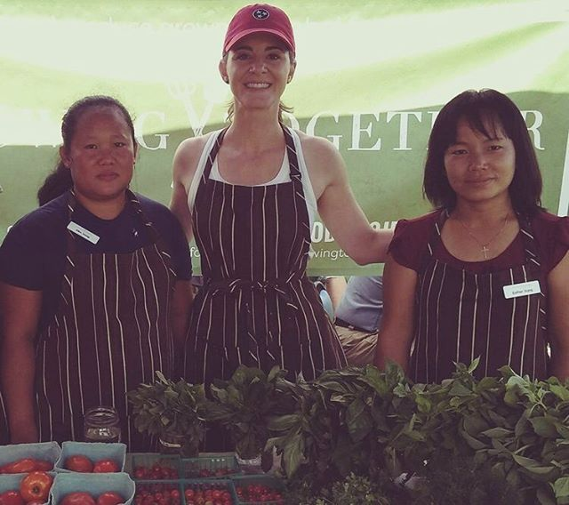Lindsay (center) volunteers at the Growing Together market booth every Saturday! She is a familiar face for customers, supporting the farmers in selling their produce and doing it all with a warm smile and calming presence. Congratulate her on being TNFP's volunteer of the month (and buy some summer veggies!) tomorrow at @richlandparkfarmersmarket between 9 and 12:30. #nashvilleeats #farmersmarket #localfood #shoplocal #volunteer