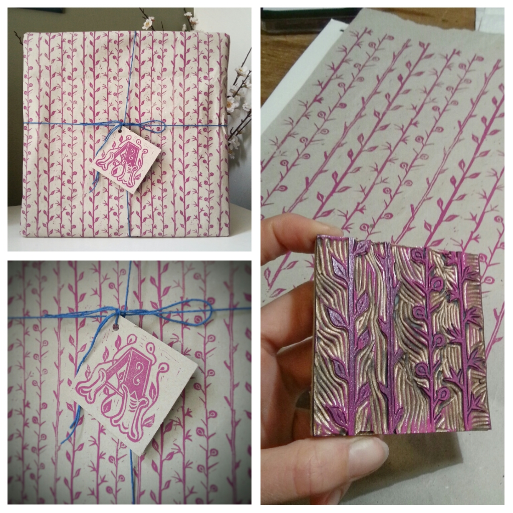 New blocks for hand-printed wrapping paper and a custom label.