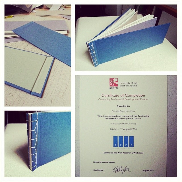 And finally… day 5, book 3 - Japanese single leaf stab-binding (with certificate!) (at UWE Bower Ashton Campus)
