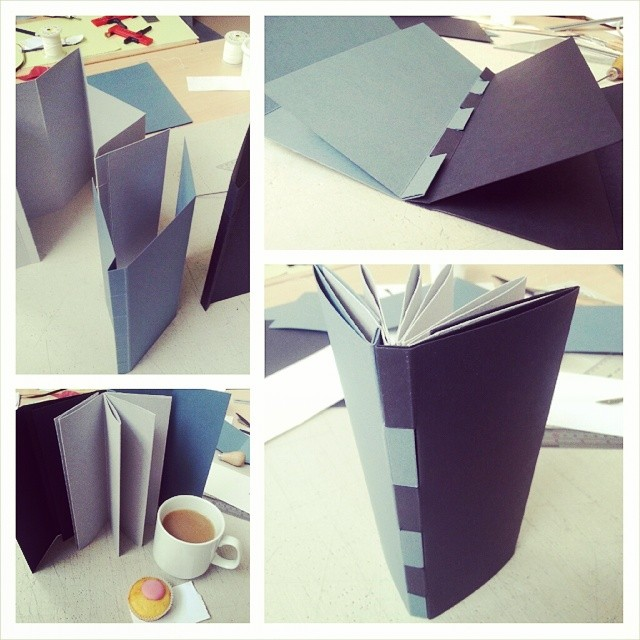 Day 5, book 2 - piano-hinged collapsible star (with iced cup-cake) (at UWE Bower Ashton Campus)
