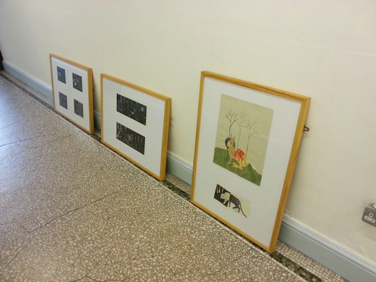 Pretty chuffed that my collage and prints got selected for framing and displaying in the entrance at college.