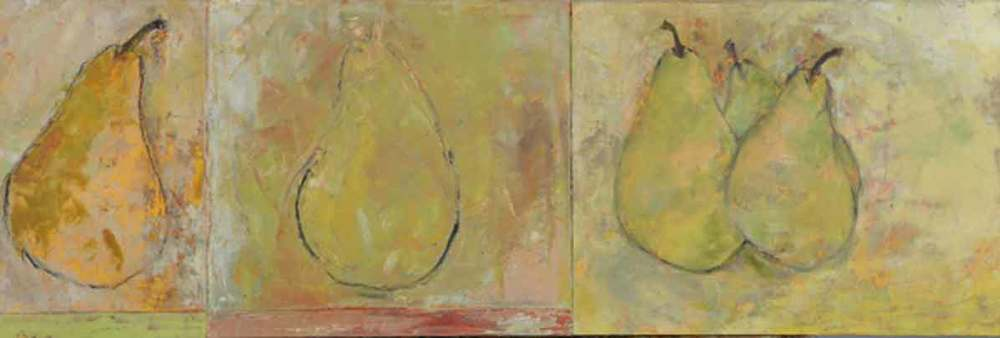 "Five Pears  Oil & Wax,  10"" x 30"",  2012  Sold"