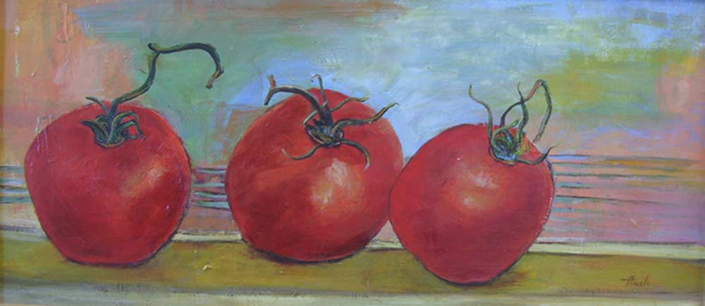 "Three Red Tomatoes  Acrylic,  12"" x 26"",  2010  Gifted"