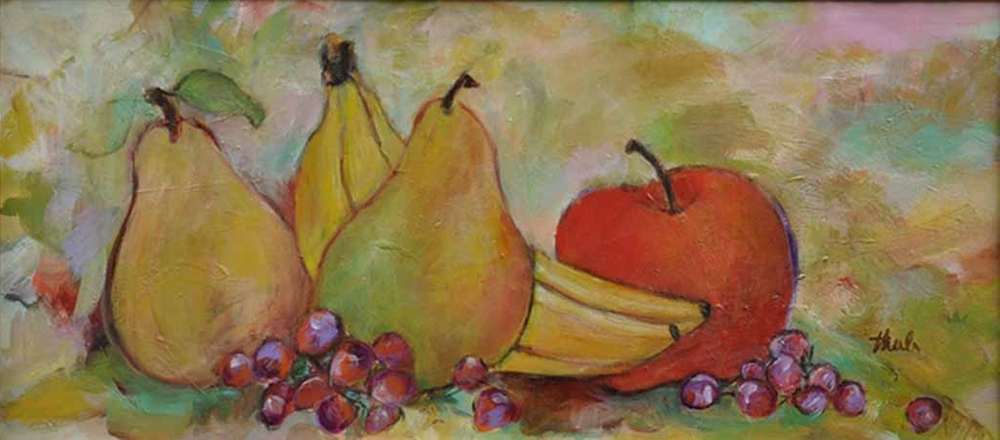 "Fruit on a Table  Acrylic,  10"" x 24"",  2009  Gifted"