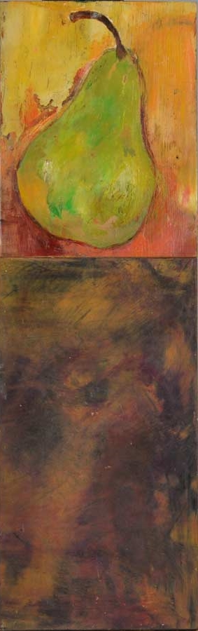 "One Pear on a Table  Oil & Wax,  7"" x 23"",  2012  Sold"