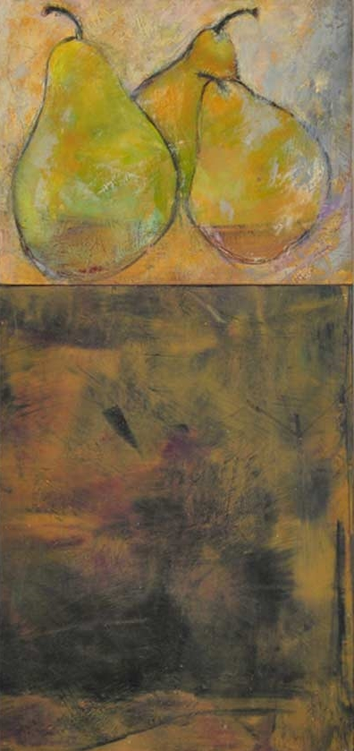"Pears on a Table  Oil & Wax,  11"" x 23"",  2012  Sold"
