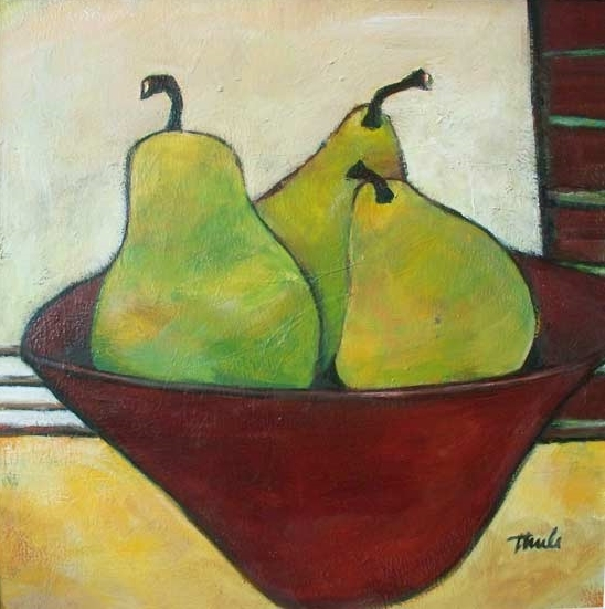 "Three Pears  Acrylic,  14"" x 14"",  2008  Sold"