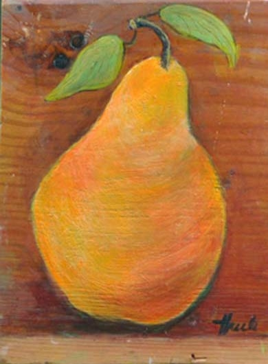 "Yellow Pear  Oil,  8"" x 10"",  2010  Sold"