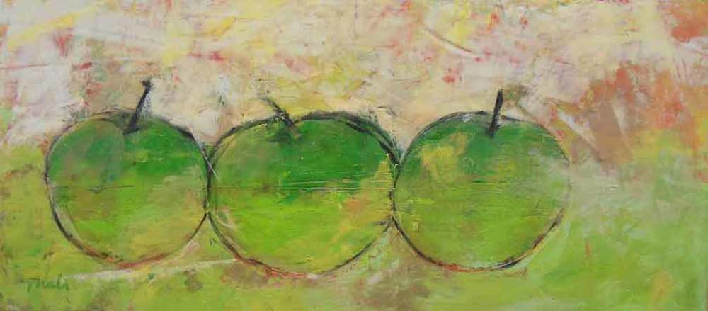 "Green Apples  Oil & Wax,  10"" x 20"",  2011  Gifted"