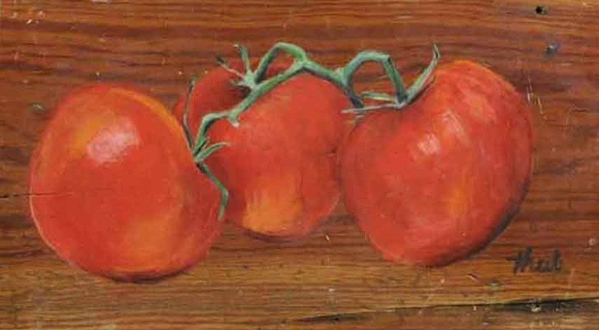 "Three Red Tomatoes  Acrylic,  8"" x 16"",  2010  Sold"