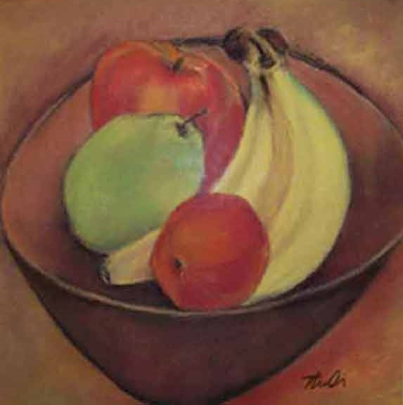 "Bowl of Fruit  Pastel,  12"" x 12"",  2009  Sold"