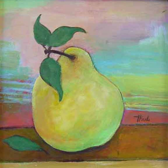 "Green Pear  Acrylic,  11"" x 11"",  2010  Gifted"