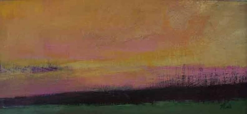 "Sunset  Acrylic,  8"" x 16"",  2008  Collection of Artist"