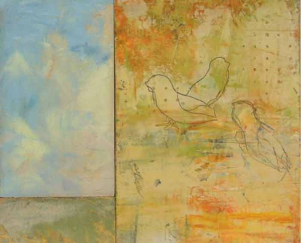 "Three Little Birds  Oil & Wax, 14"" x 16"", 2012  Gifted"