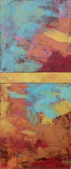 """Blue Skies  Oil & Wax, 8"""" x 19"""", 2015  Sold ($175)"""