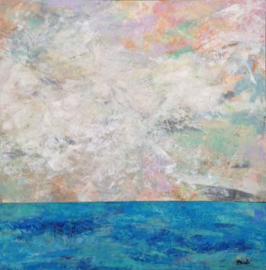 """Sky Meets Water  Oil & Wax, 24"""" x 24"""", 2015  $395"""