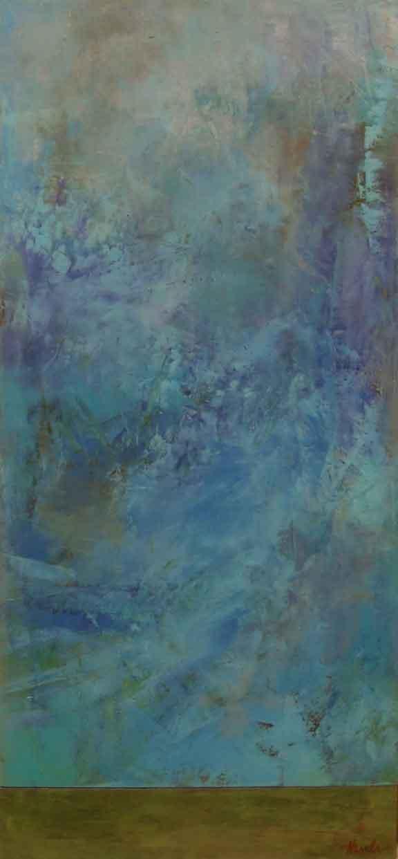 "Blues and Greens  Oil & Wax,  10"" x 22"""