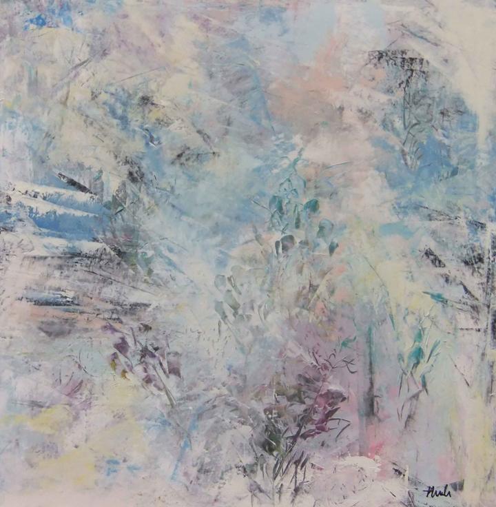 "First Snowfall  Oil & Wax, 18"" x 18"", 2017  Sold"