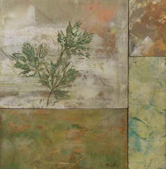 """Oak Leaves  Oil & Wax,  13"""" x 14"""""""