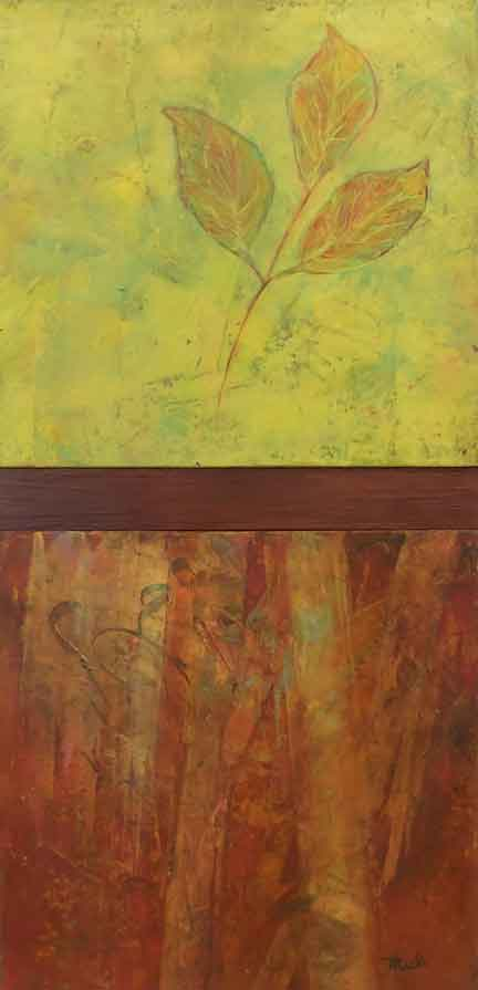 """Three Leaves  Oil & Wax,  8"""" x 17"""""""