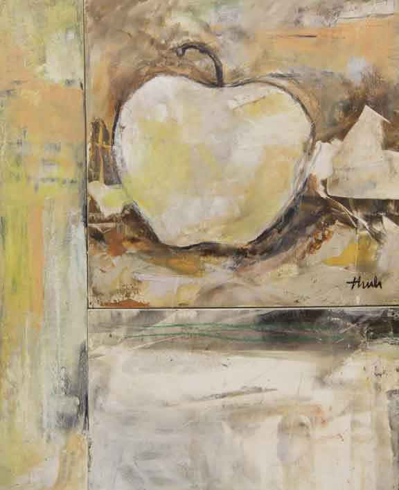 "One Apple  Oil & Wax,  10"" x 13"",  2017  Sold"