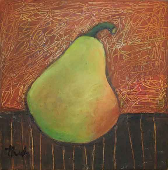 "Pear on Table  Oil & Wax,  6"" x 6"""