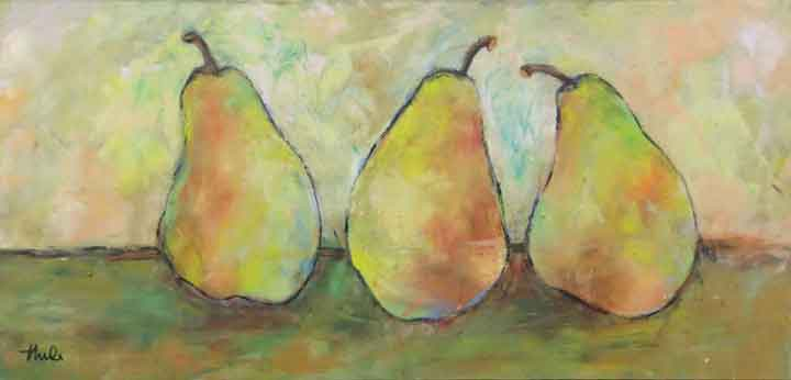 "Three Pears on Table  Oil & Wax,  10"" x 22"",  2017  Gifted"