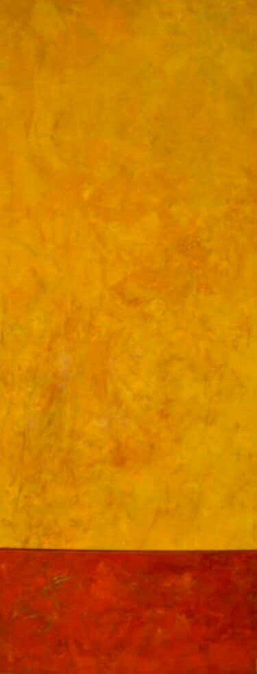 "Yellow and Red  Oil & Wax,  12"" x 26"",  2011  Gifted"