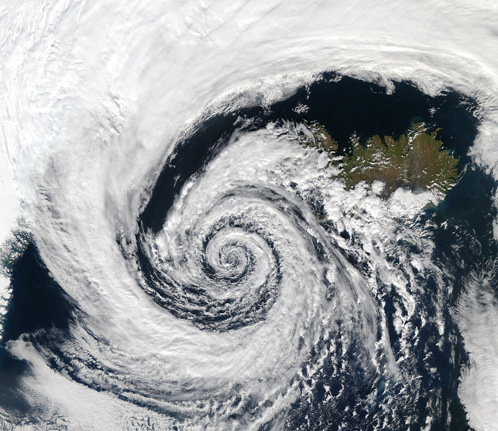 Low-pressure system over Iceland; NASA