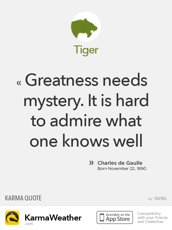 Chinese Zodiac Quotes: Tiger #deGaulle