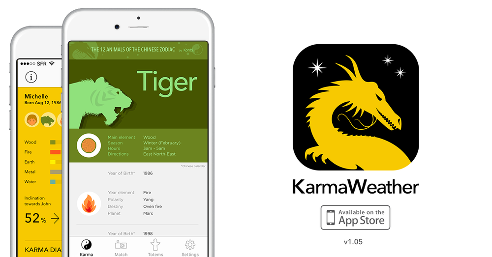 We're happy to announce that the latest update of  KarmaWeather free Chinese zodiac love and friend Match calculator app  is now available on the App Store since April 6, 2016.