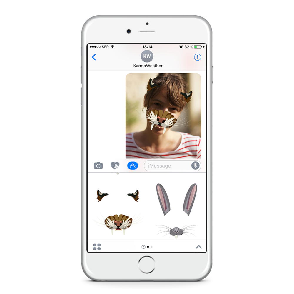 With the latest updated version of the  free application for iPhone KarmaWeather  also use our new feature for iMessage:  KarmaWeather face filters of the 12 animals of the Chinese zodiac . Ideal to surprise your friends with customized selfies!